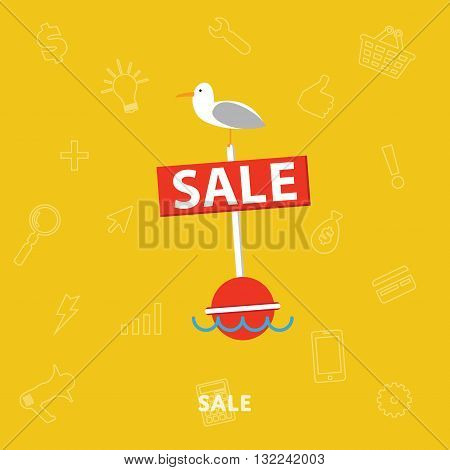 Sale banner concept. Shopping time. Discount offer. Special offer banner. Overstock lots. Sale elements. Сlearance sale. Sale time vector illustration. Discount banner. Sale offer illustration. Banner for website or graphic material.