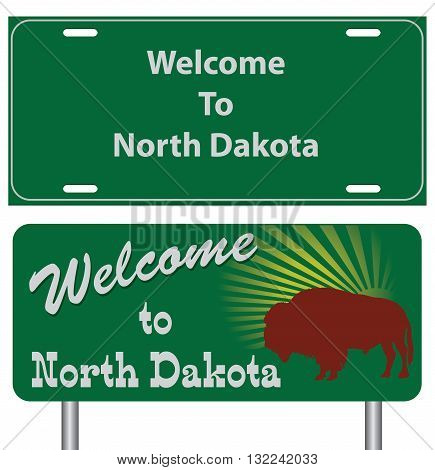 Road signs for North Dakota. A set of characters Welcome to North Dakota.
