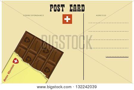 Vintage Swiss postcard classic black Swiss chocolate.