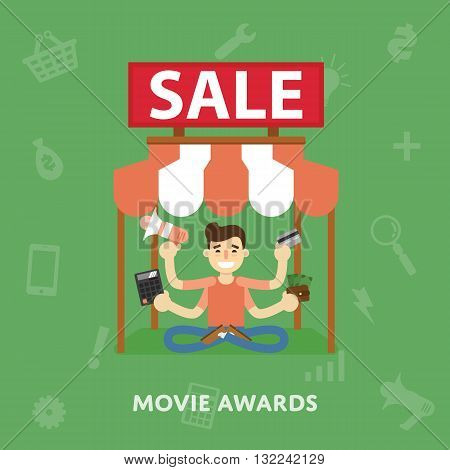Sales cinema novelties flat abstract isolated vector illustration