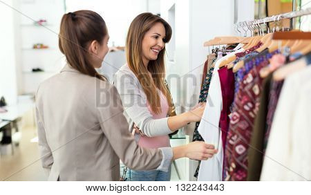 Women in clothes shop