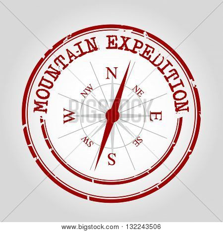 Travel moutain expedition in North with compass