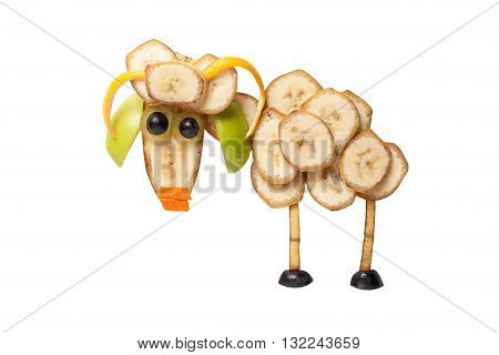 Funny ram made of bananas on white background