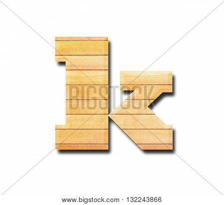 Wooden alphabet letter with drop shadow on white background k