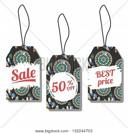 Sale tags. Vector illustration with freehand ink textures. Colorful dreamcatchers on dark background. Prise labels with freehand pattern