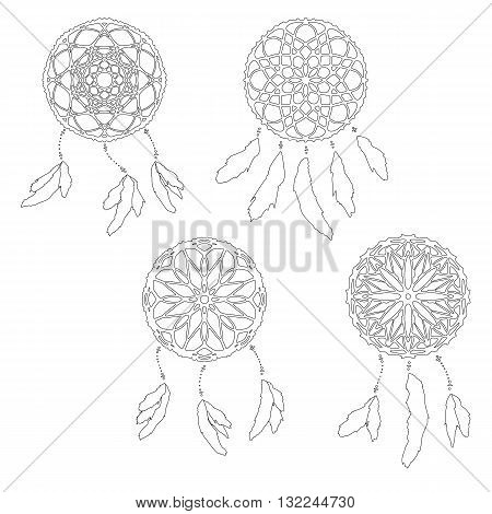 Set of zentangle style dreamcatchers. Ethnic vector illustration isolated on white. Page for antistess coloring. Stylized dreamcatcher with feathers