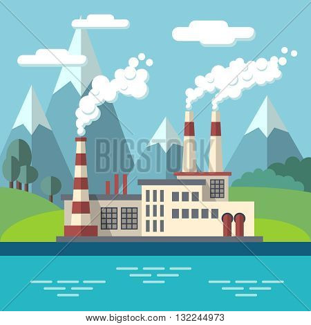 Industrial factory flat ecology vector concept background. Environmental protection. Ecology environment and factory power, pollution factore to nature illustration