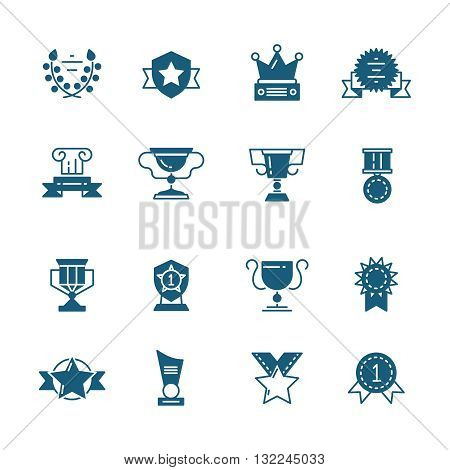 Vector awards, prizes and trophy black signs. Prize cup or goblet and prize achievement illustration