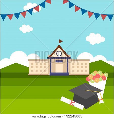 celebrations of graduation with background of school