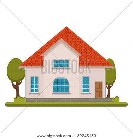 The flat picture with the image of the house with the garage and trees.suburban  house.