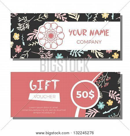 Gift vouchers with floral background. Vector illustration. Wildflowers, moss and berries on dark background. Gift coupons with freehand pattern