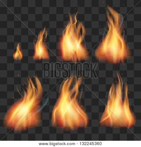 Realistic fire animation sprites flames vector set. Realistic creative hot fire and inferno explosion fire illustration