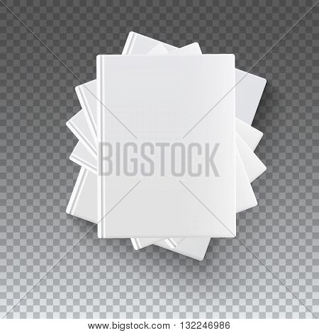 Stack of various blank white books on transparent background, vector illustration for your presentation, posters, cover and other design