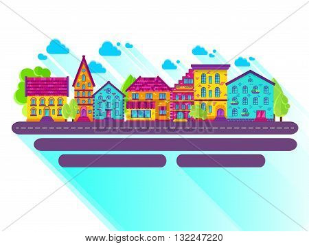 Colection of houses in a row, city street, bright colored vector houses, flat design, EPS 10