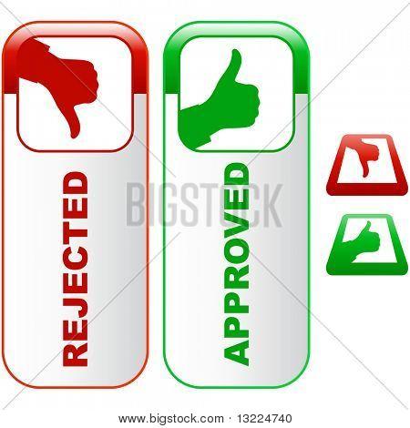 Iconos aprobados y rechazados.