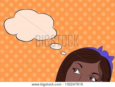Pop Art illustration thoughtful african girl with a mental bubble