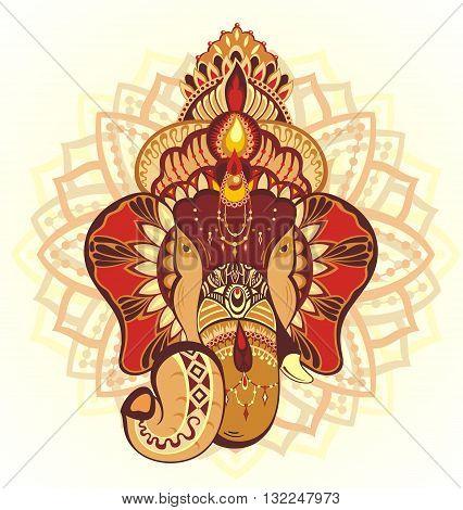 Elephant. Vector abstract elephant in Indian style mehndi.Vector henna
