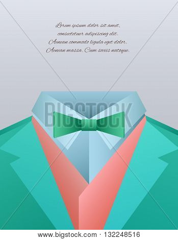 Vector illustration of funny men's suits and place for text for your design