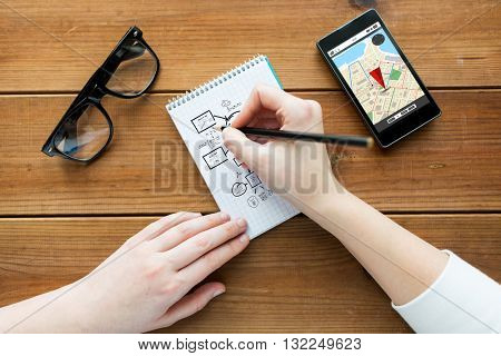 navigation, planning and people concept - close up of woman or student drawing scheme in notepad with pencil and eyeglasses with gps navigtor map on smartphone screen on wooden table