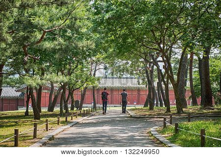 Seoul South Korea - May 31 2016: Two unidentified men are traveling to South Korea on May 31 2016 in Seoul South Korea
