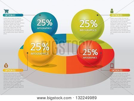 Vector Illustration:   info-graphic - sphere style - percentage, circle