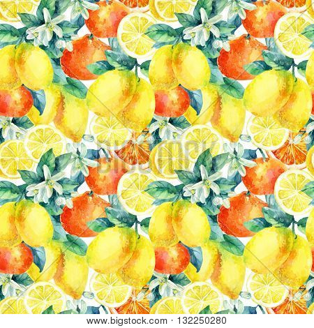 Watercolor mandarine orange and lemon fruit with leaves and blossom seamless pattern. Orange lemon citrus tree background. Tangerine lemon leaf flower in retro style. Hand painted illustration