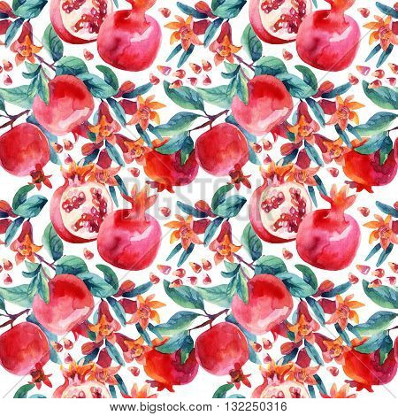Watercolor pomegranate bloom branches and fruit seamless pattern. Pomegranate fruit berries and flower on white background. Hand painted illustration