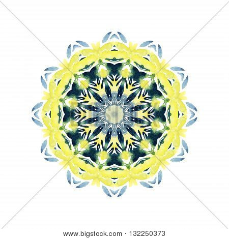 Watercolor abstract mandala. Hand painted pattern with floral elements in natural colors. Ornate lace pattern for nature design. Lace with abstract flowers and leaves isolated on white background.