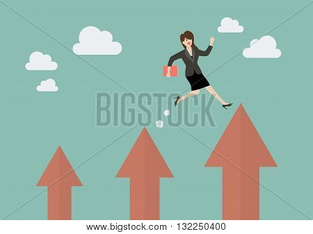 Business woman jumping up to a higher arrow. Business concept