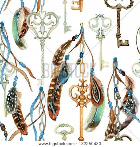 Vintage key with feathers and ribbons. Retro keys seamless pattern. Hand painted illustration on white background in the style of boho