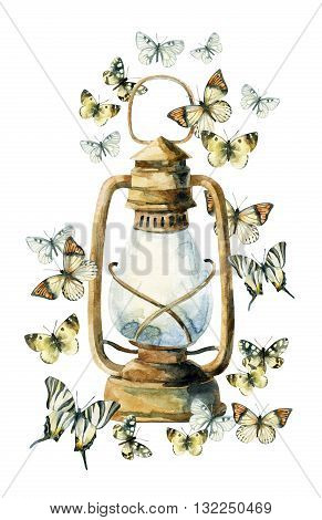 Watercolor vintage lamp with butterfly on white background. Colorful butterfly and rusty lamp. Watercolor art illustration with rustic and boho elements.