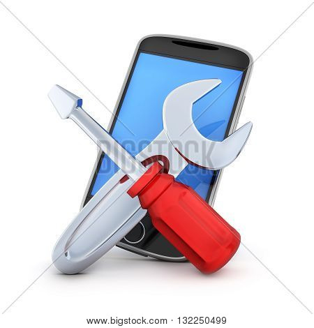 Phone repair on white background (done in 3d rendering)