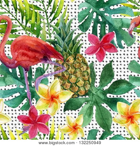Tropical watercolor pineapple flamingo exotic flowers and leaves. Colorful exotic bird fruit flower. Pineapple and flowers seamless pattern in pop art style. Hand painted watercolor illustration