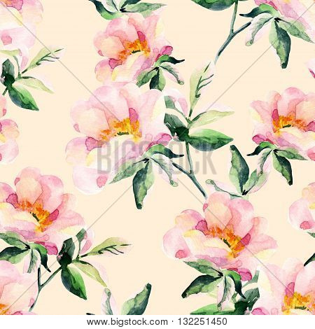 Watercolor briar flowers seamless pattern. Dog Rose branches on pastel background. Hand painted illustration vintage inspired