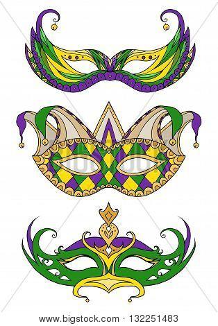 Set of hand-drawn doodle face masks. Festival Mardi Gras masquerade.