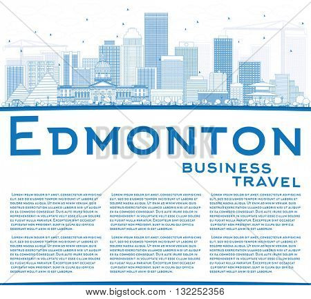 Outline Edmonton Skyline with Blue Buildings and Copy Space. Vector Illustration. Business Travel and Tourism Concept with Modern Buildings. Image for Presentation Banner Placard and Web Site.