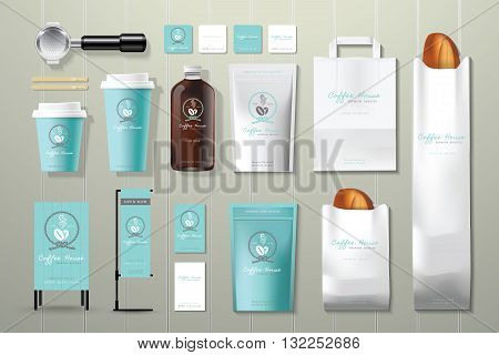 Coffee house corporate identity template design set on wood background