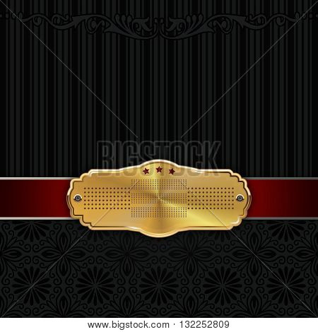 Vintage background with gold framered ribbon and floral patterns.