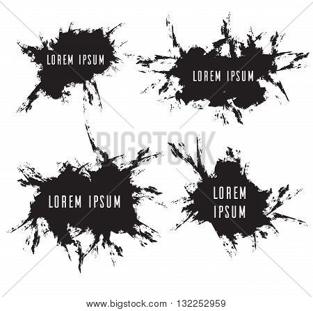 Set grunge frames with scuffed vector elements for your design