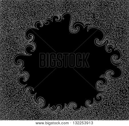 Black and white vector decorative frame, abstract background