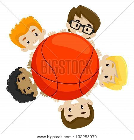 Vector Illustration of a Basketball Team holding the Ball