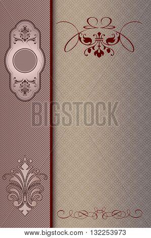 Decorative background with elegant borderframe and patterns. Book cover or vintage invitation card design.