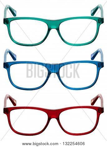 Three Colorful Sunglasses Or Eye Glasses Frames