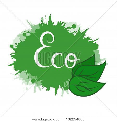 Vector cover with green leaves and spray on the theme of eco life with hand drawn calligraphy for your design