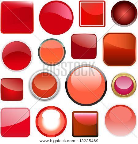 Red buttons for design. Vector set.