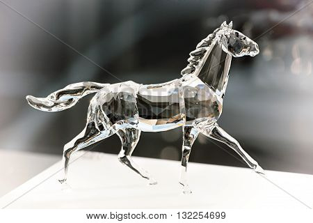Trotting Crystal Horse With A Flowing Tail