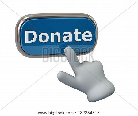 3d illustration. Hand pressing blue donate button isolated on white background