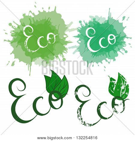 Set of handwritten calligraphy inscription Eco with watercolor splashes grunge leaves and attrition. Set of design elements for your creativity