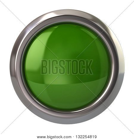 3D Illustration Of Green Glossy Button