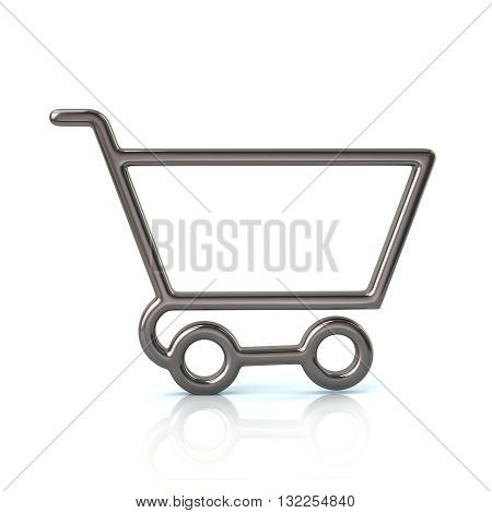 3D Illustration Of Silver Shopping Cart Icon